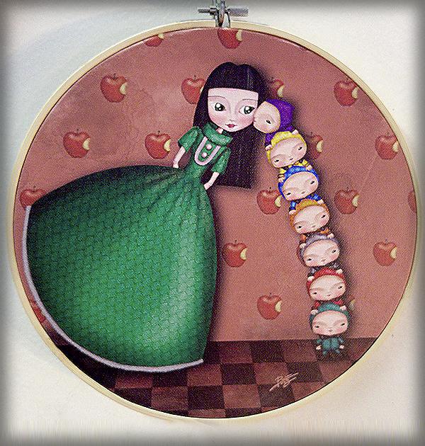 decoración bebé infantil regalo dibujo arte diseño cine amor niños vintage ropa venta digital cuadro blancanieves cuento manzana naif ilustración original