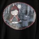 Camiseta chica Caperucita Feroz Negra detallle