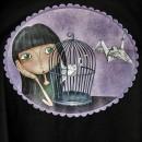 Camiseta chica Origami Negra detallle