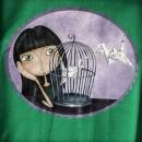 Camiseta chica Origami Verde detallle