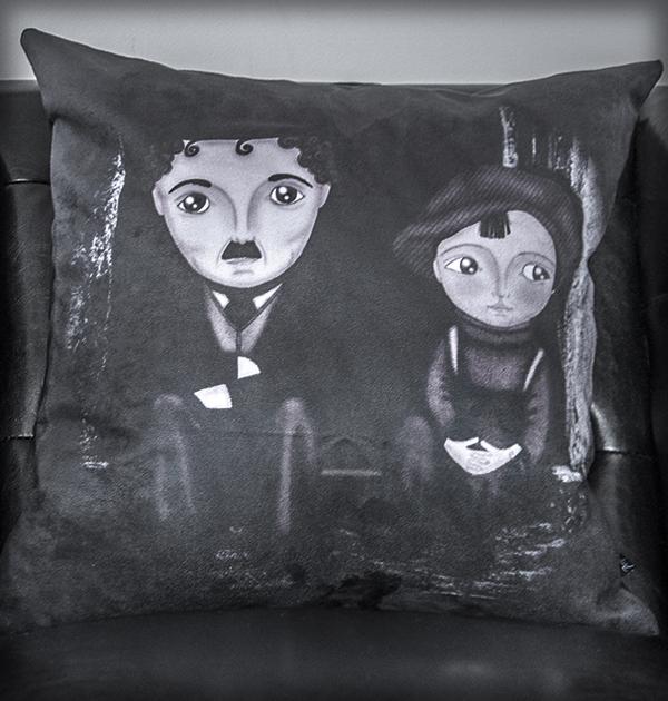 decoración bebé infantil regalo dibujo arte diseño cine amor niños vintage ropa venta digital cuadro charles chaplin cine mudo b&n chico original ilustrada
