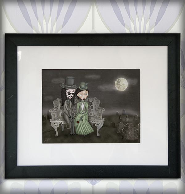 decoración bebé infantil regalo dibujo arte diseño cine amor niños vintage ropa venta digital cuadro ilustración original drácula gótico cementerio luna naif