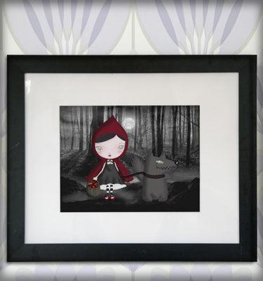 decoración bebé infantil regalo dibujo arte diseño cine amor niños vintage ropa venta digital cuadro ilustración original cuento gótico lobo mascota luna naif