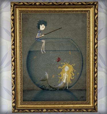decoración bebé infantil regalo dibujo arte diseño cine amor niños vintage ropa venta digital cuadro ilustración original sirena pez pecera naif amor pareja