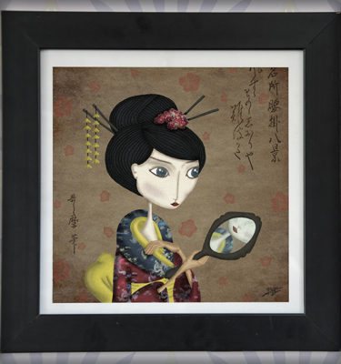 decoración bebé infantil regalo dibujo arte diseño cine amor niños vintage ropa venta digital cuadro ilustración original geisha japón oriental naif