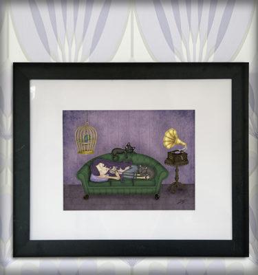 decoración bebé infantil regalo dibujo arte diseño cine amor niños vintage ropa venta digital cuadro ilustración original sofá niña gato pájaro gramófono naif