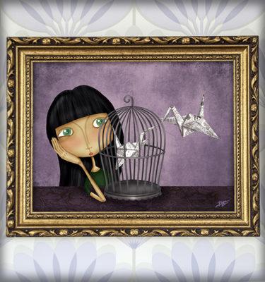 decoración bebé infantil regalo dibujo arte diseño cine amor niños vintage ropa venta digital cuadro ilustración original pájaro papel jaula niña naif