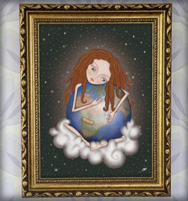 decoración bebé infantil regalo dibujo arte diseño cine amor niños vintage ropa venta digital cuadro ilustración original pelirroja mundo planeta tierra cosmos tristeza naif nube estrellas