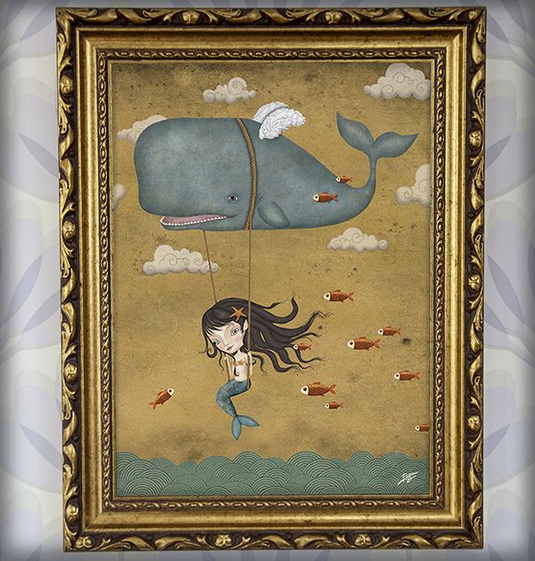 decoración bebé infantil regalo dibujo arte diseño cine amor niños vintage ropa venta digital cuadro ilustración original ballena pez volar sirena estrella mar nube columpio naif