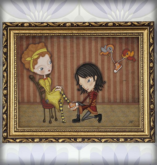 decoración bebé infantil regalo dibujo arte diseño cine amor niños vintage ropa venta digital cuadro ilustración original cenicienta princesa principe amor pareja naif pájaro converse cuento