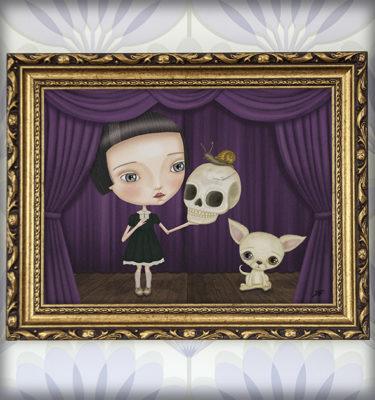 decoración bebé infantil regalo dibujo arte diseño cine amor niños vintage ropa venta digital cuadro ilustración original hamlet shakespeare calavera perro teatro caracol naif gótico