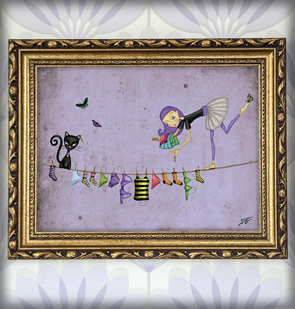 decoración bebé infantil regalo dibujo arte diseño cine amor niños vintage ropa venta digital cuadro ilustración original tendal equilibrista gato ropa mariposa naif