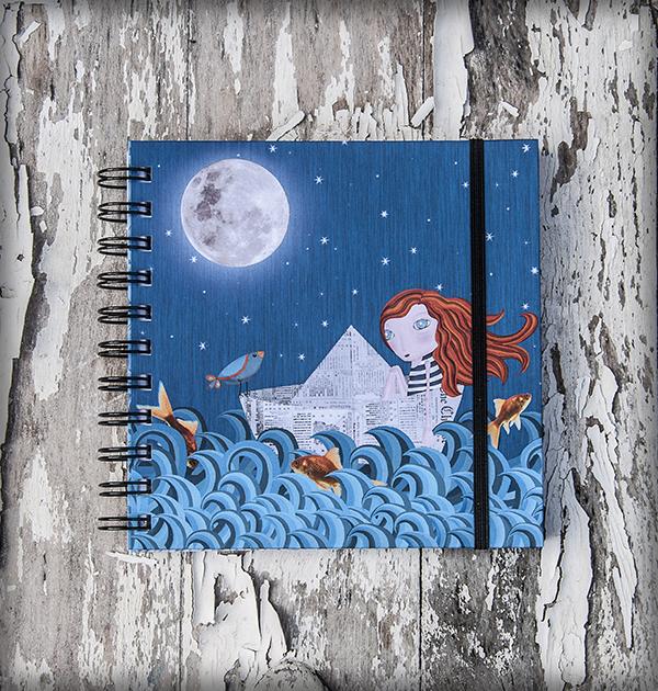 decoración bebé infantil regalo dibujo arte diseño cine amor niños vintage ropa venta digital cuadro libreta deriva pez mar pelirroja barco papel luna original ilustrada