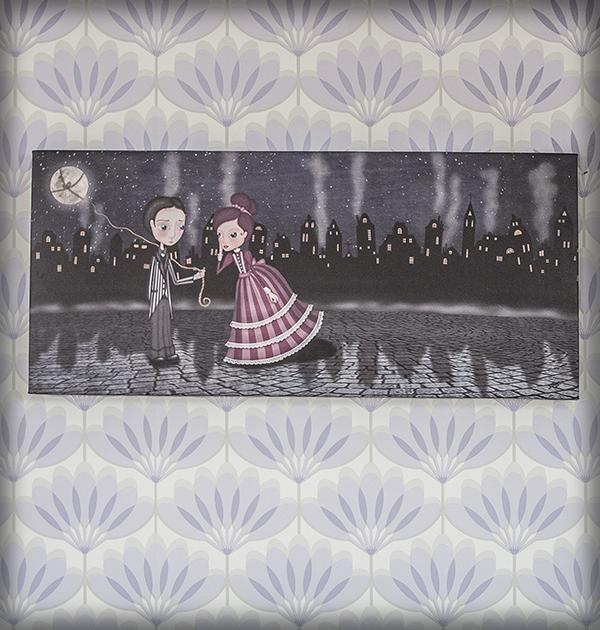 decoración bebé infantil regalo dibujo arte diseño cine amor niños vintage ropa venta digital cuadro ilustración original amor pareja ciudad romántico