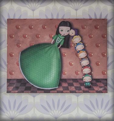 decoración bebé infantil regalo dibujo arte diseño cine amor niños vintage ropa venta digital cuadro ilustración orginal blancanieves enanitos cuento naif manzana princesa