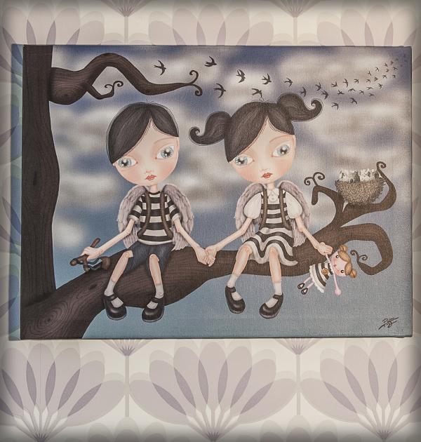 decoración bebé infantil regalo dibujo arte diseño cine amor niños vintage ropa venta digital cuadro ilustración original gemelos mellizos naif pájaro