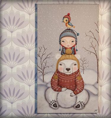 decoración bebé infantil regalo dibujo arte diseño cine amor niños vintage ropa venta digital cuadro ilustración original oso polar niño pájaro nieve naif