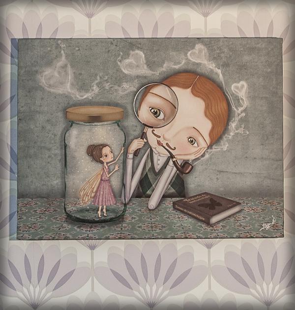 decoración bebé infantil regalo dibujo arte diseño cine amor niños vintage ropa venta digital cuadro ilustración original amor hada corazón pareja romántico pipa lupa mariposa