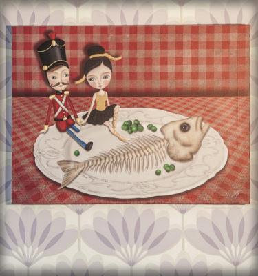 decoración bebé infantil regalo dibujo arte diseño cine amor niños vintage ropa venta digital cuadro ilustración original soldadito plomo bailarina cuento pez raspa amor pareja romántico naif