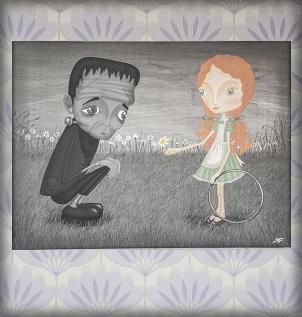 decoración bebé infantil regalo dibujo arte diseño cine amor niños vintage ropa venta digital cuadro ilustración original frankenstein niña flor b&n cine naif