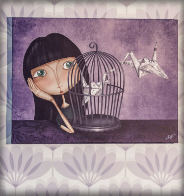 decoración bebé infantil regalo dibujo arte diseño cine amor niños vintage ropa venta digital cuadro ilustración original origami pájaro papel jaula niña naif