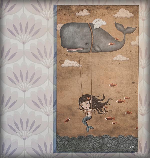 decoración bebé infantil regalo dibujo arte diseño cine amor niños vintage ropa venta digital cuadro ilustración original ballena mar sirena nubes naif