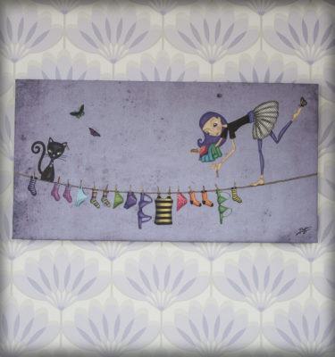 decoración bebé infantil regalo dibujo arte diseño cine amor niños vintage ropa venta digital cuadro ilustración original gato tendal ropa equilibrista mariposa naif