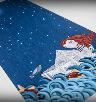 decoración bebé infantil regalo dibujo arte diseño cine amor niños vintage ropa venta digital cuadro ilustración original pelirroja barco papel luna pájaro pez mar
