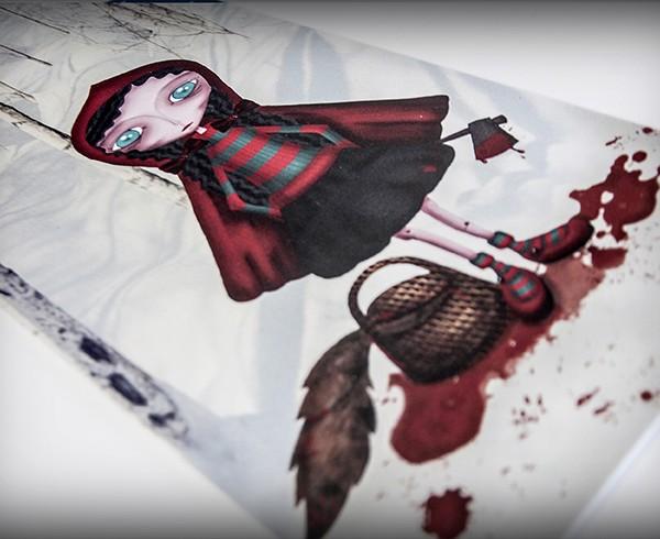 decoración bebé infantil regalo dibujo arte diseño cine amor niños vintage ropa venta digital cuadro ilustración original cuento sangre lobo nieve