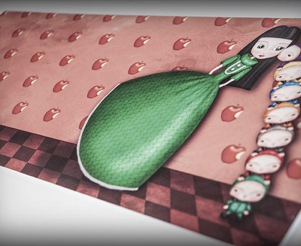 decoración bebé infantil regalo dibujo arte diseño cine amor niños vintage ropa venta digital cuadro ilustración original blancanieves enanitos cuento naif princesa manzana