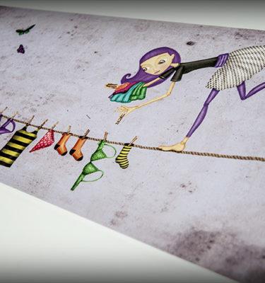 decoración bebé infantil regalo dibujo arte diseño cine amor niños vintage ropa venta digital cuadro ilustración original gato bailarina equilibrista tendal ropa naif