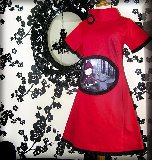 decoración bebé infantil regalo dibujo arte diseño cine amor niños vintage ropa venta digital cuadro vestido caperucita feroz cuento original ilustrado