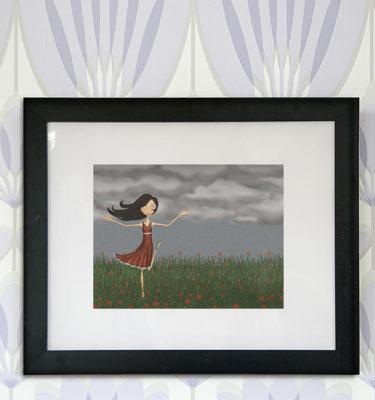 decoración bebé infantil regalo dibujo arte diseño cine amor niños vintage ropa venta digital cuadro ilustración original lámina primavera amapolas nubes correr niña viento campo