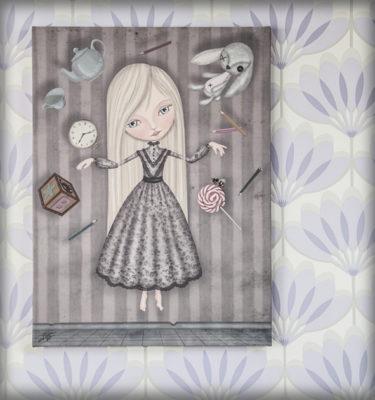decoración bebé infantil regalo dibujo arte diseño cine amor niños vintage ropa venta digital cuadro ilustración original niña conejo flotar naif gótico reloj