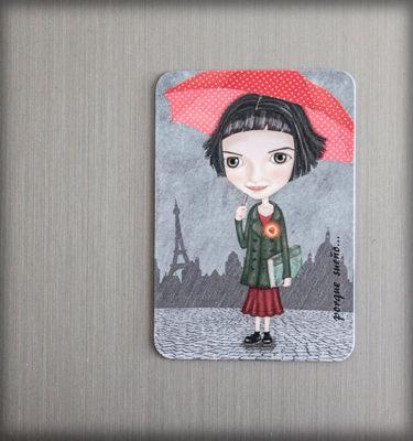 ilustración original decoración bebé infantil regalo dibujo arte diseño cine niños vintage ropa venta digital cuadro paraguas lluvia nevera