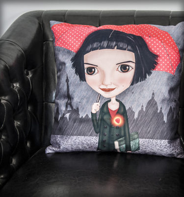 ilustración original decoración regalo dibujo amelie cojin paraguas rojo corazón paris amor