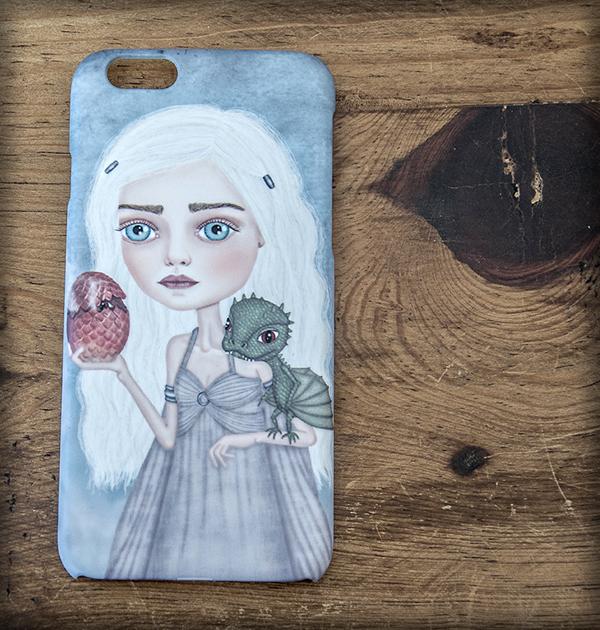 ilustración original decoración regalo carcasa iphone diseño serie juego de tronos daenerys targaryen dragon dragones