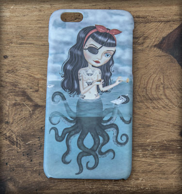 ilustración original decoración regalo carcasa iphone diseño octopussy pulpo mar fuego mujer pirata mala pin-up tattoo tatuaje