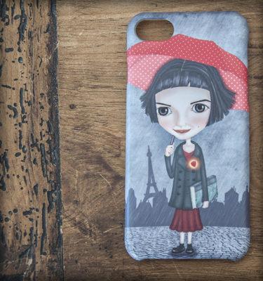 ilustración original decoración regalo carcasa iphone diseño amelie cine pelicula amor paraguas rojo corazón