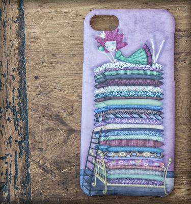 ilustración original decoración regalo carcasa iphone diseño princesa guisante cuento rosa colchones cama