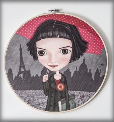 ilustración original decoración regalo bastidor circular amelie poulain pelicula cine paraguas corazon amor