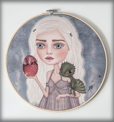 ilustración original decoración regalo bastidor circular lienzo daenerys targaryen serie juego de tronos madre de dragones dragon fuego
