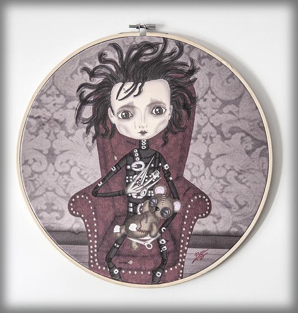ilustración original decoración regalo bastidor circular eduardo manostijeras pelicula tim burton gotico steampunk siniestro amor