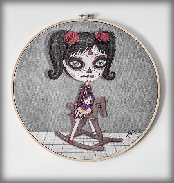 ilustración original decoración regalo bastidor niña katrina mexico dia muertos calavera