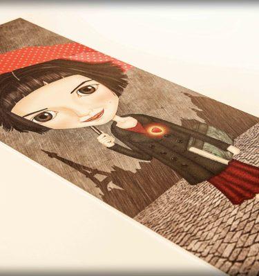 ilustración original decoración regalo placa pvc amelie pelicula amor rojo corazon