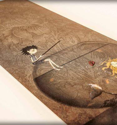 ilustración original decoración regalo placa pvc cebo corazon sirena amor pecera rubia