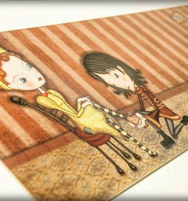 ilustración original decoración regalo placa pvc cenicienta cuento princesa principe converse pajaros amor naranja