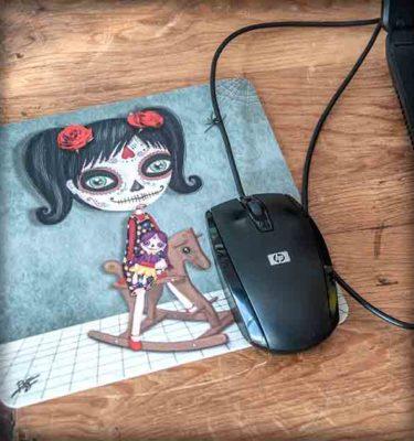 ilustración original decoración regalo alfombrilla ratón ordenador niña katrina steampunk méxico calavera disfraz