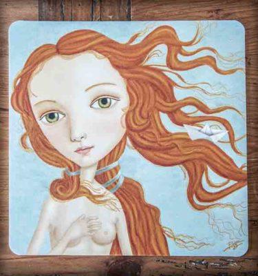ilustración original decoración regalo alfombrilla ratón ordenador venus botticelli nacimiento pelirroja barco papel desnudo