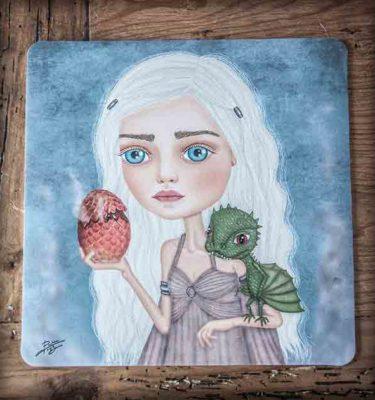 ilustración original decoración regalo alfombrilla ratón ordenador daenerys targaryen juego de tronos dragon dragones azul series